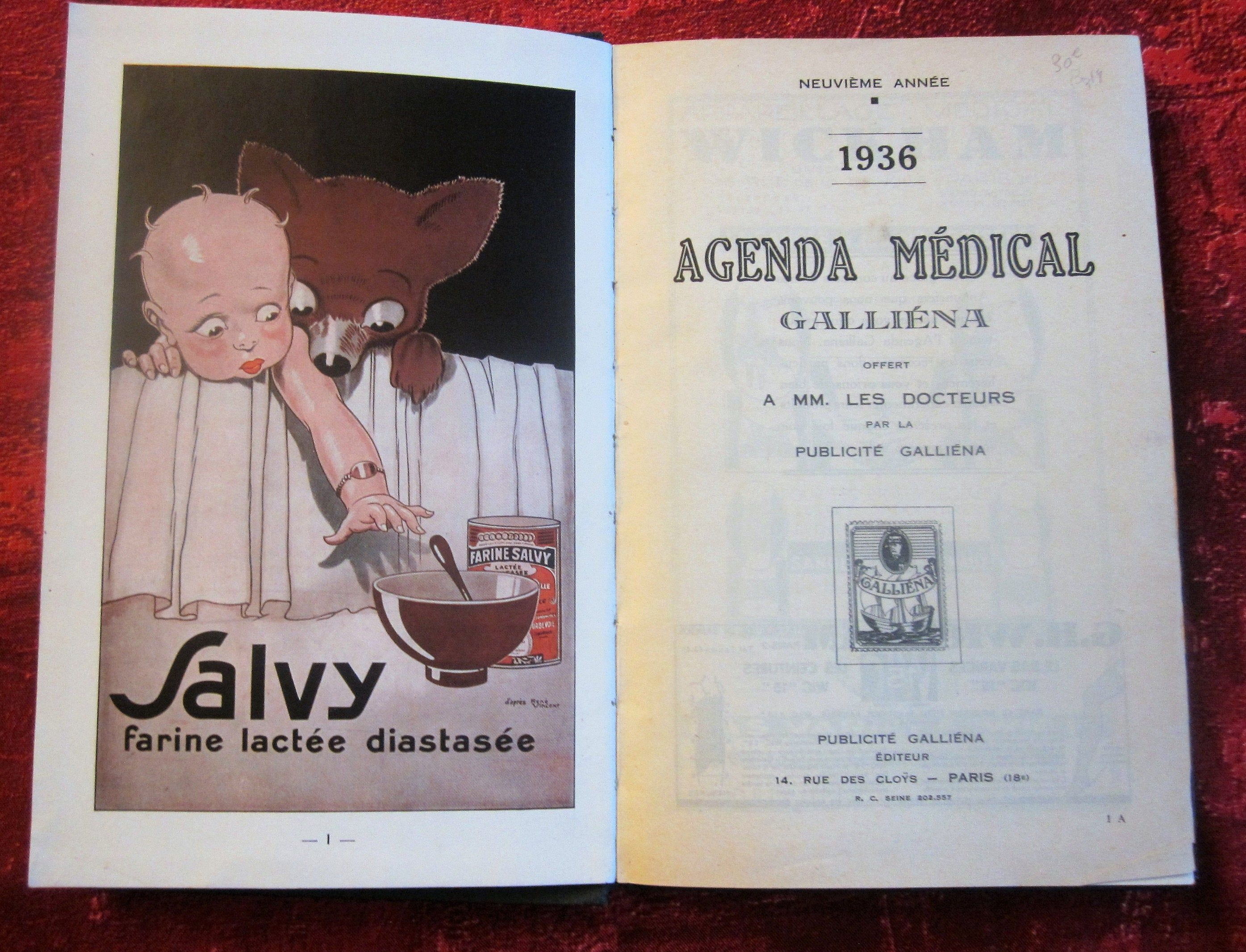 Datebook 1936 New Galiena Medical Agenda For Doctor Food Advertissing Parmacy Notes Memo Honorary French Vint Publicite Alimentaire Le Docteur Carte Postale