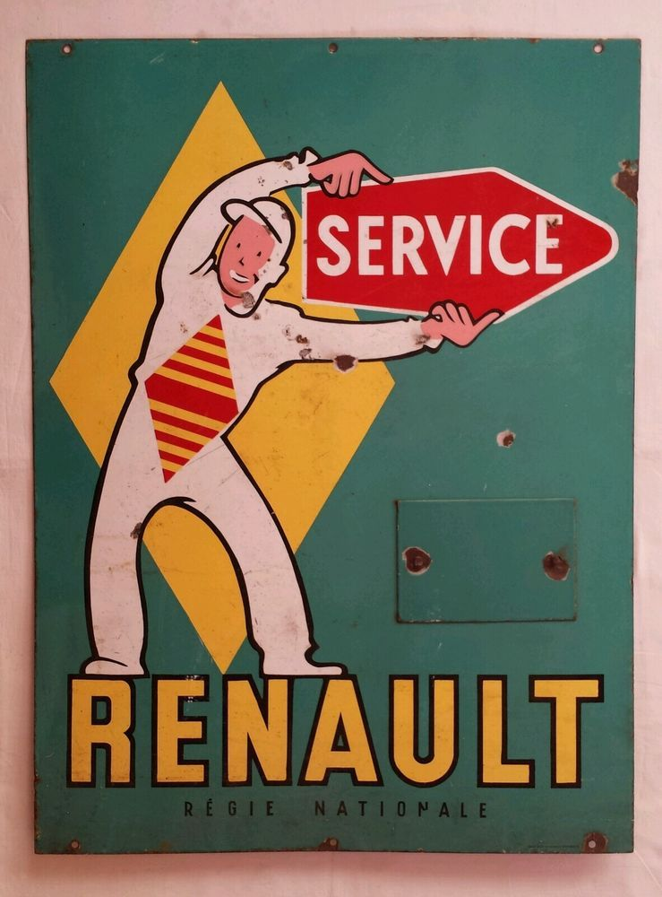 plaque maill e publicitaire garagiste renault service d co garage atelier collections. Black Bedroom Furniture Sets. Home Design Ideas