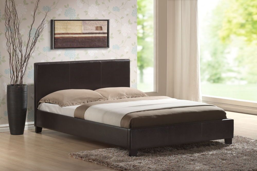 Leather Bed Double Or King Size Bedframe Choice Of Colours Mattress Available