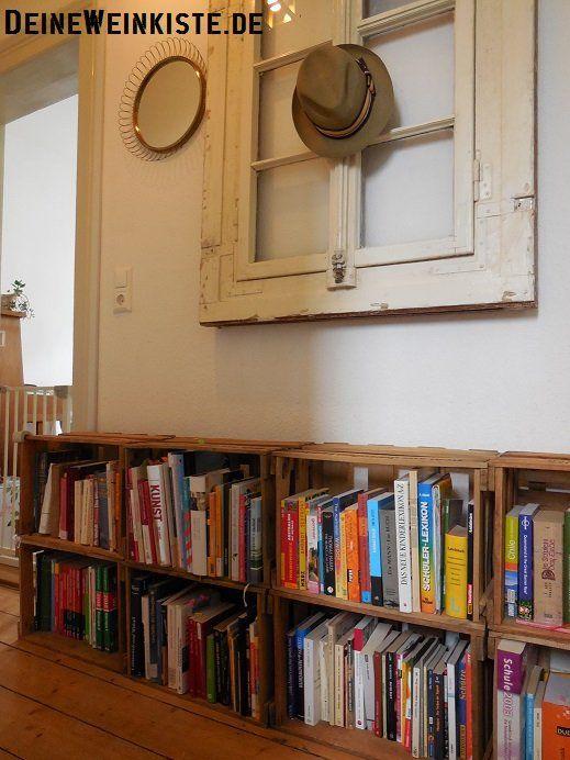 Bücherregal / Sideboard aus Weinkisten | Weinkisten, Kiste ...