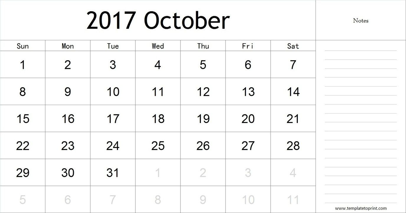 October  Calendar With Notes Pdf Blank Calendar Template