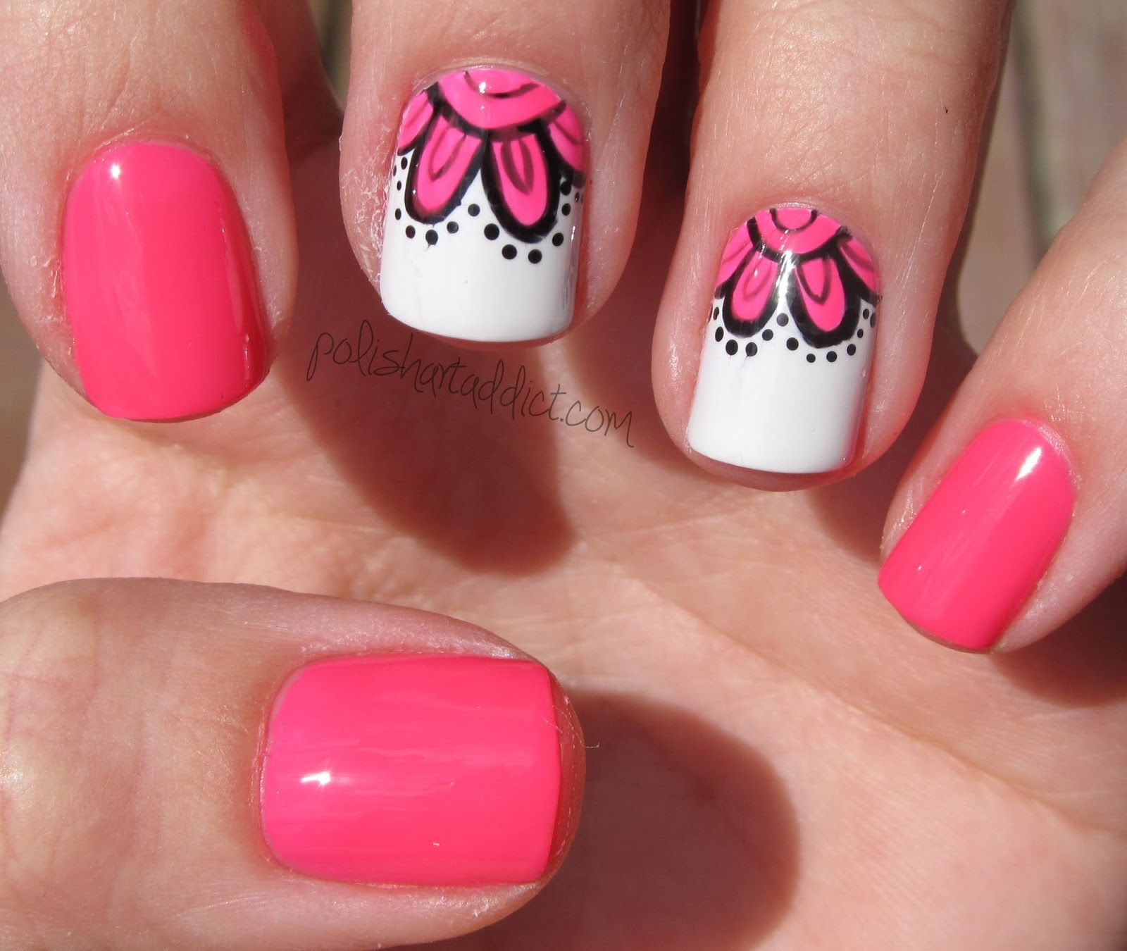 Neon pink flowers (Polish Art Addiction)   Art addiction, Nail nail ...