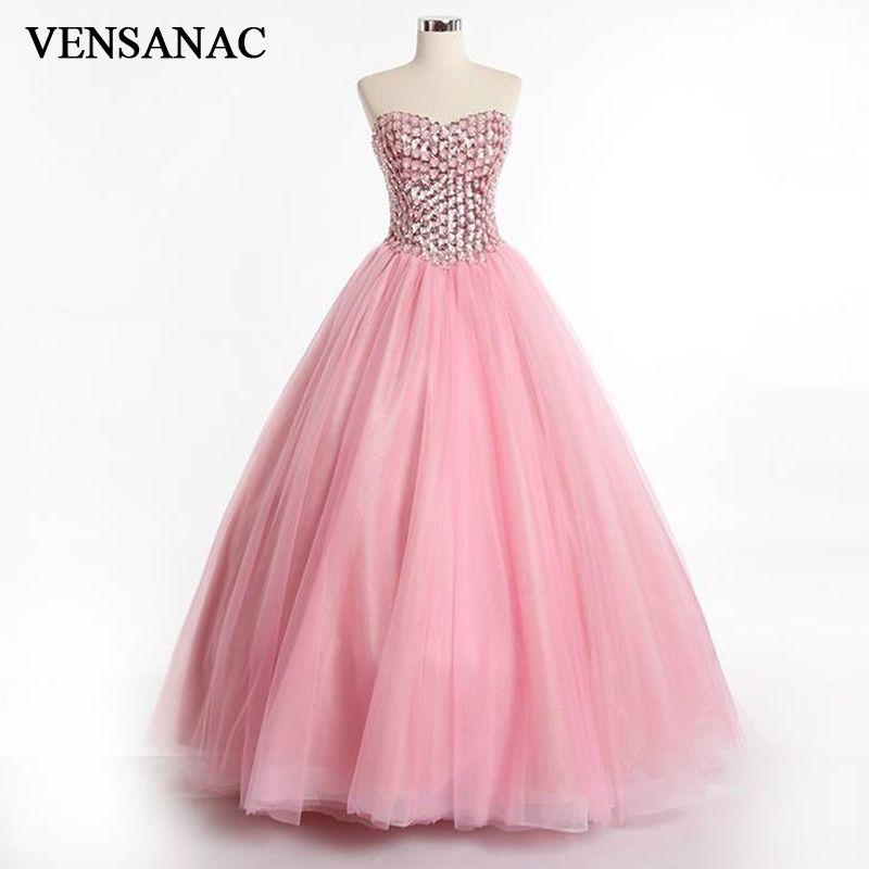 c7b63d6322 VENSANAC 2017 New Luxury Crystals Strapless Long Evening Dresses ...