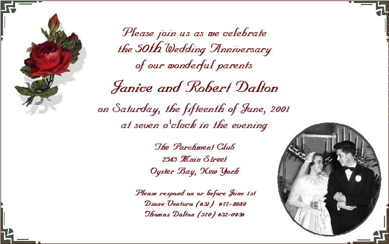 Top 25 ideas about Anniversary Invitations – Wording for 50th Wedding Anniversary Invitations