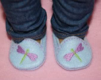 18 inch Doll Dragonfly Loafers Embroidery Machine Design for the 5x7 hoop