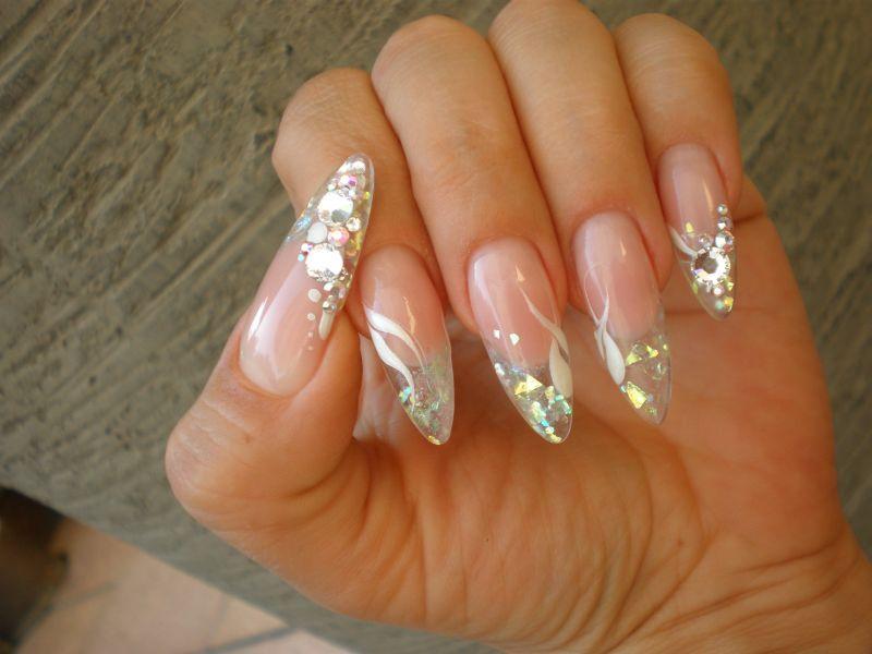 Nail art glas crushed ice n gel spitz glitzer - Pinterest nageldesign ...