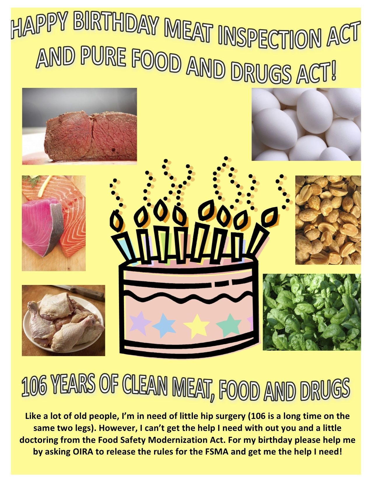 Happy Birthday To The Pure Food And Drug Act And The Meat Inspection Act Comment On The Card And We Will Send Your Comme Pureed Food Recipes Food Food Safety