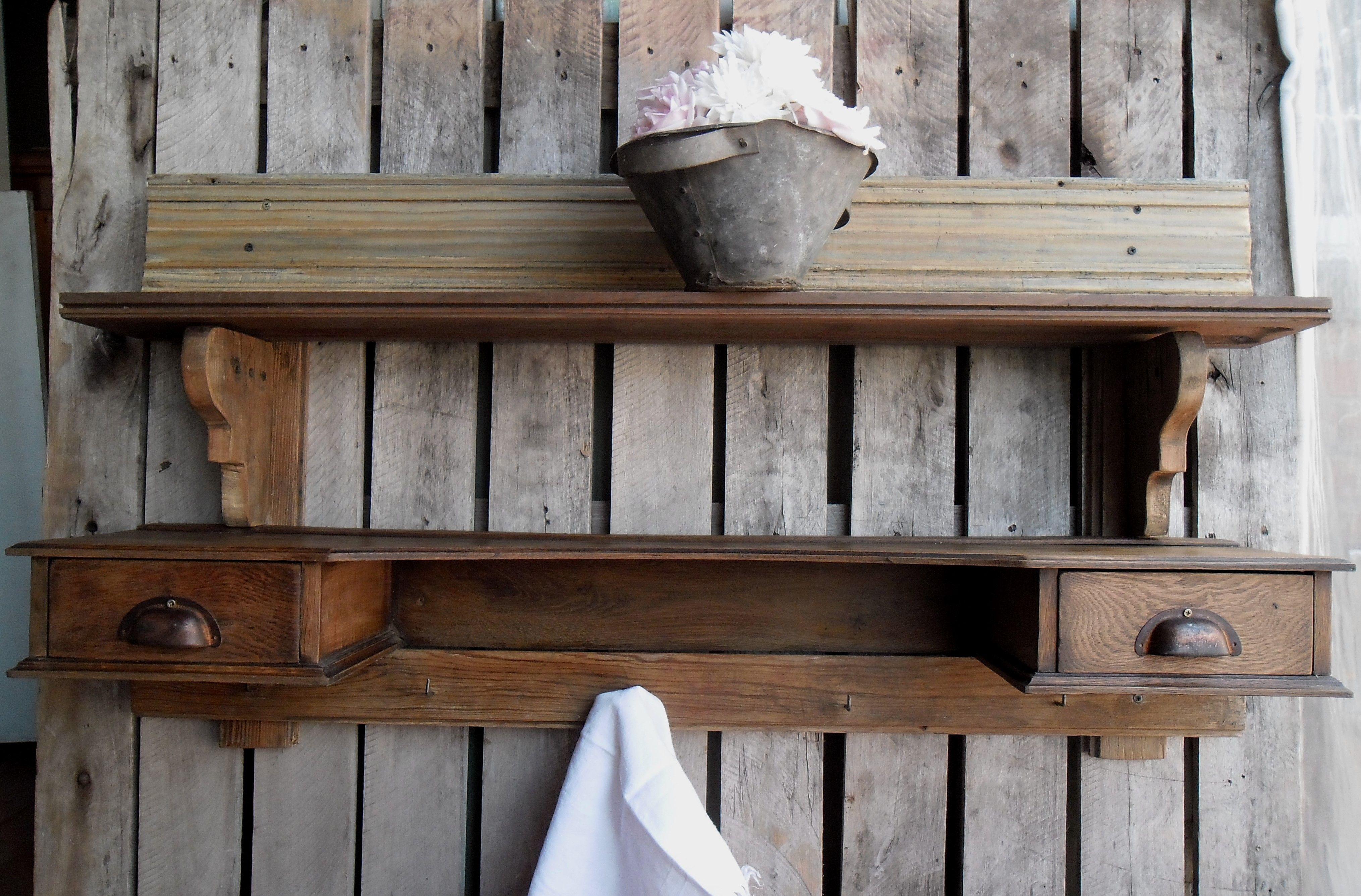 Repisa con maderas de demolición + alzada de mueble. https://www.facebook.com/nada.sepierde.5