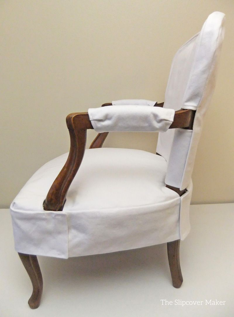 Admirable Simple White Denim Slipcover For French Chair Slipcovers Camellatalisay Diy Chair Ideas Camellatalisaycom