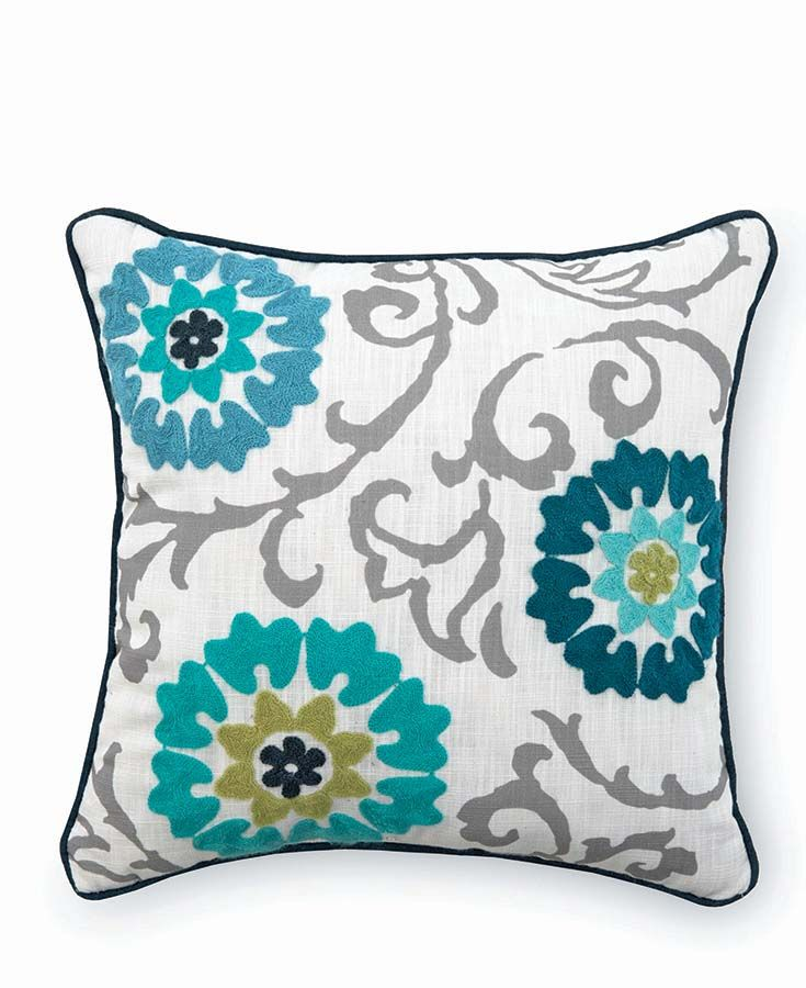 Better Homes Gardens Floral Medallion Decorative Throw Pillow Gray And Blue Walmart Com Blue Floral Pillows Embellished Pillows Medallion Pillow