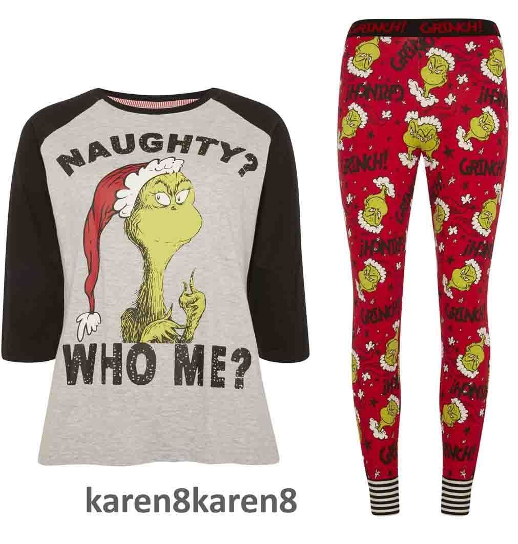 Primark The Grinch Christmas Pyjamas Ladies Womens Pajamas Grinch