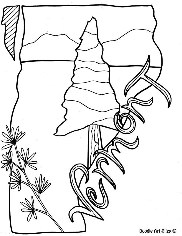 vermont coloring page by doodle art alley