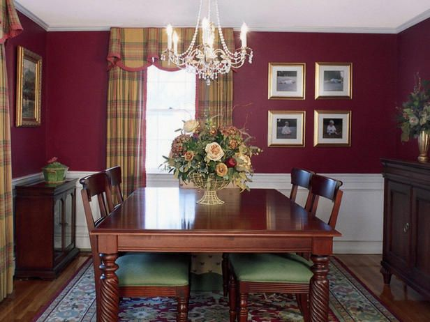 Red Dining Room Accessories: Traditional Dining Rooms