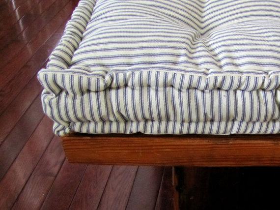 Custom Bench Cushion Ticking Stripe Window Seat Cushion French Mattress Quilted Cushion Tufted Cushions Custom Sized Cushion Custom Bench Cushion Window Seat Cushions French Mattress