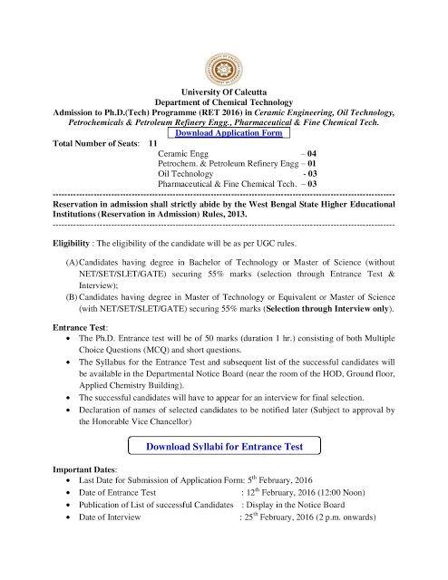 Ph.D. Admission Notice: University of Calcutta Admission t Ph.D. Programme...
