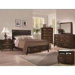 Crown Mark - 4-PC Doorian Dark Brown Upholstered Storage Queen Bedroom Set - 59B9650Q4  SPECIAL PRICE: $1,488.00