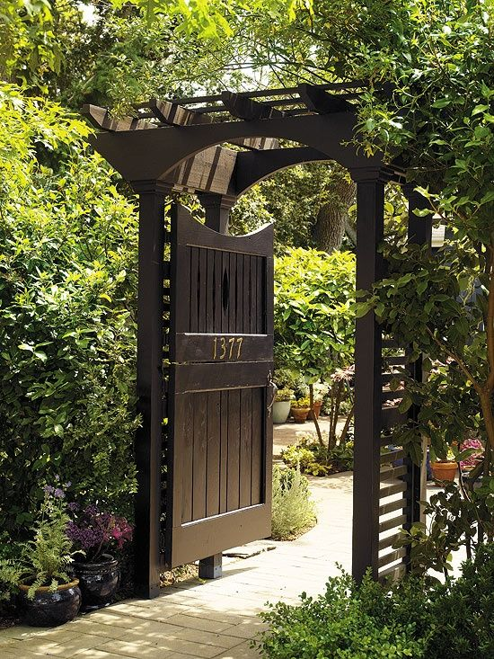 Garden Gate Dutch Black Paint And Brass Numbers Give This Dutch Door And  Its Sturdy Arbour A Formal Elegance. The Full  Or Half Door Option Can  Either Usher ...