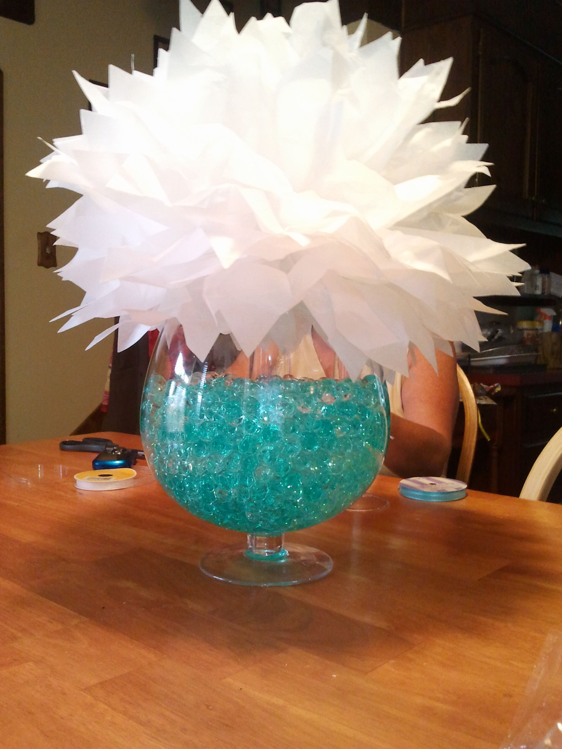 Fish Bowl Vase Bowl Filled With Clear And Turquoise Water Beads From Walmart Tissue Paper