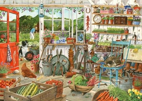 garden shed painting by tracy hall