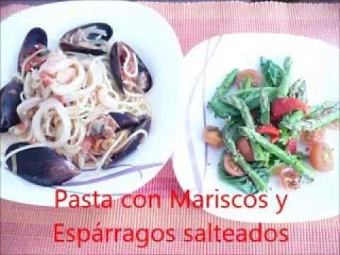 Cocina real free pasta con mariscos y esp rragos salteados - Comidas con esparragos ...