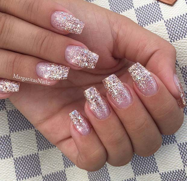 Clear Nail Polish With Red Glitter Hession Hairdressing