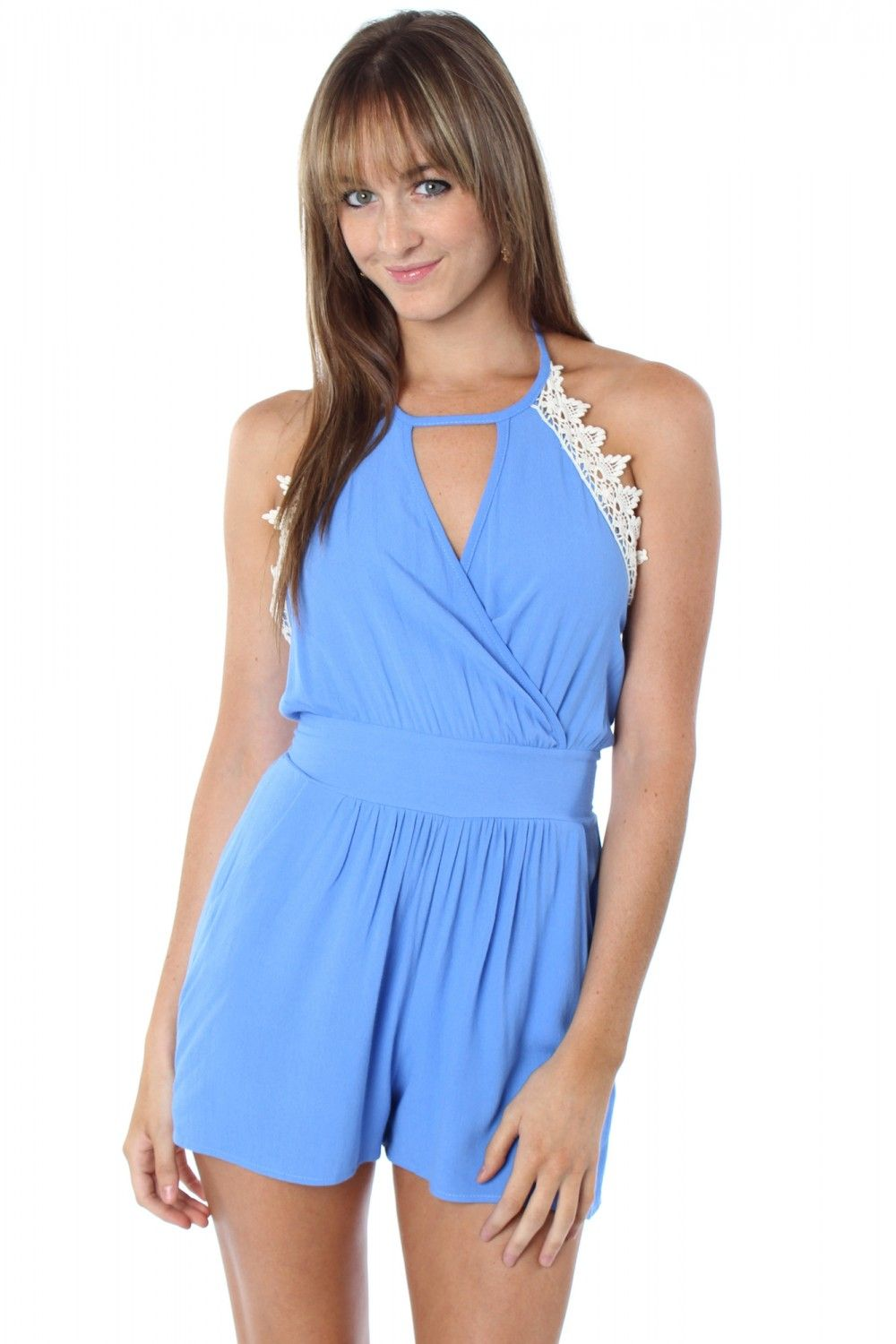 Own The Nigh Romper Blue $32.99 #sophieandtrey #rompers #halter #openback #crochet #cross #pockets