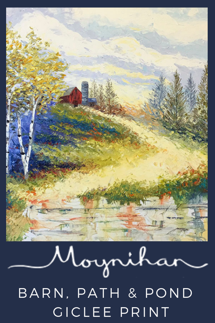 Barn Path And Pond In Rural American Landscape Giclee Print By Artist Kate Moynihan Thick Texture Created By Palette K Giclee Print Painting Abstract Styles