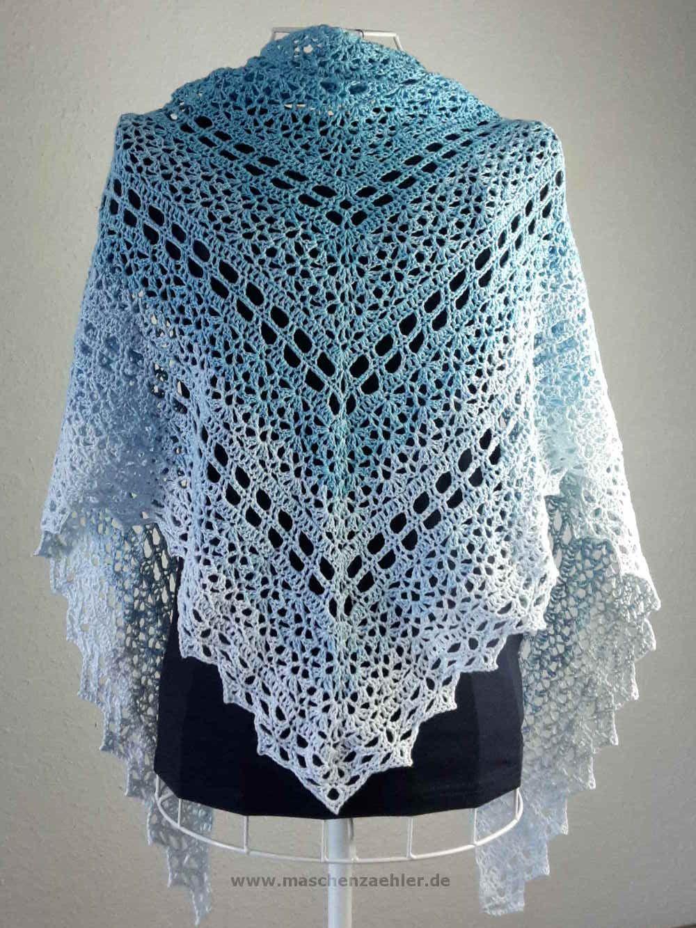 Häkelanleitung Aeolos - Rückenansicht | Crochet - Scarf / Foulard ...