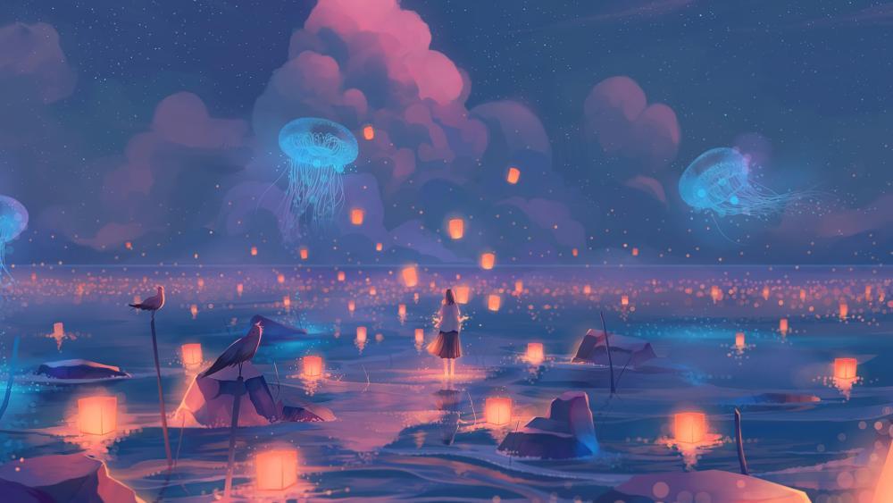 Illuminated Jellyfish 4K UltraHD Wallpaper backiee