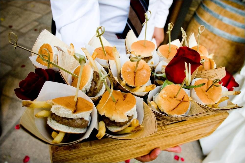 butler passed appetizers at wedding reception chic mini burgers