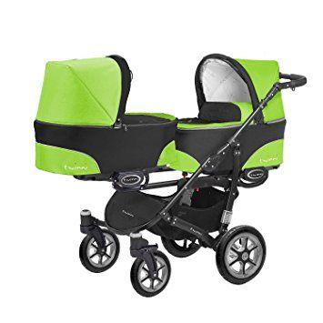 Kinderwagen Zwillingskinderwagen Sportwagen 1 Gondel 1 Sportsitz Maxi Cosi Adapter Twinni 2in1 Schwarzer Rahmen Grun Schwa Stroller Tandem Pushchair Pushchair