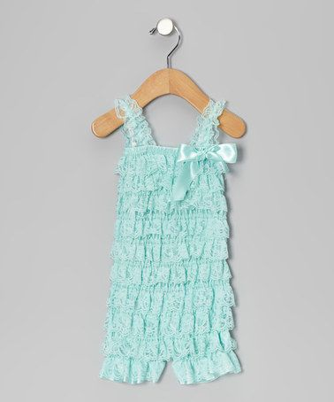 Take a look at this Aqua Lace Ruffle Romper by London Raquel on @zulily today!