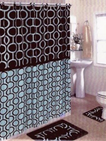 Brown Blue 15 Piece Bathroom Set Bath Rugs Shower Curtain Rings