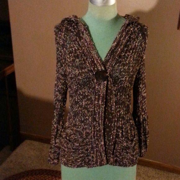 Hooded Cardigan Sweater Multiple colors of Brown mixture cotton ...