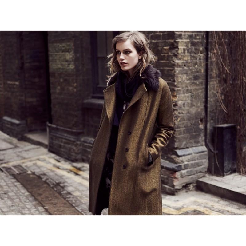 Paul Smith Women's Coats | Gold Wool-Blend Herringbone Coat
