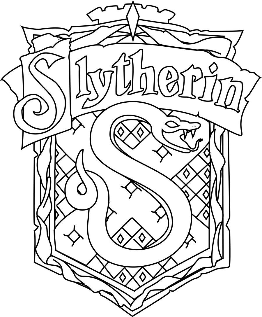 Slytherin crest Harry potter coloring pages, Harry