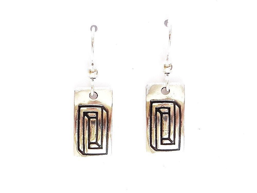 One pair of sterling impossible geometry earrings, optical illusion gift, science accessory, geek jewelry, architectural jewelry, architect gift, techie jewelry, fantasy earrings. I love optical illusions! An image of an impossible rectangle is cast in solid low-tarnish sterling silver --approx. 18 x 10 mm (0.71 x 0.39 inches) --oxidized and domed --polished front and back --stamped .925 and initialed The wires are solid low-tarnish Argentium sterling silver for easy style. Hypo-allergenic ear n
