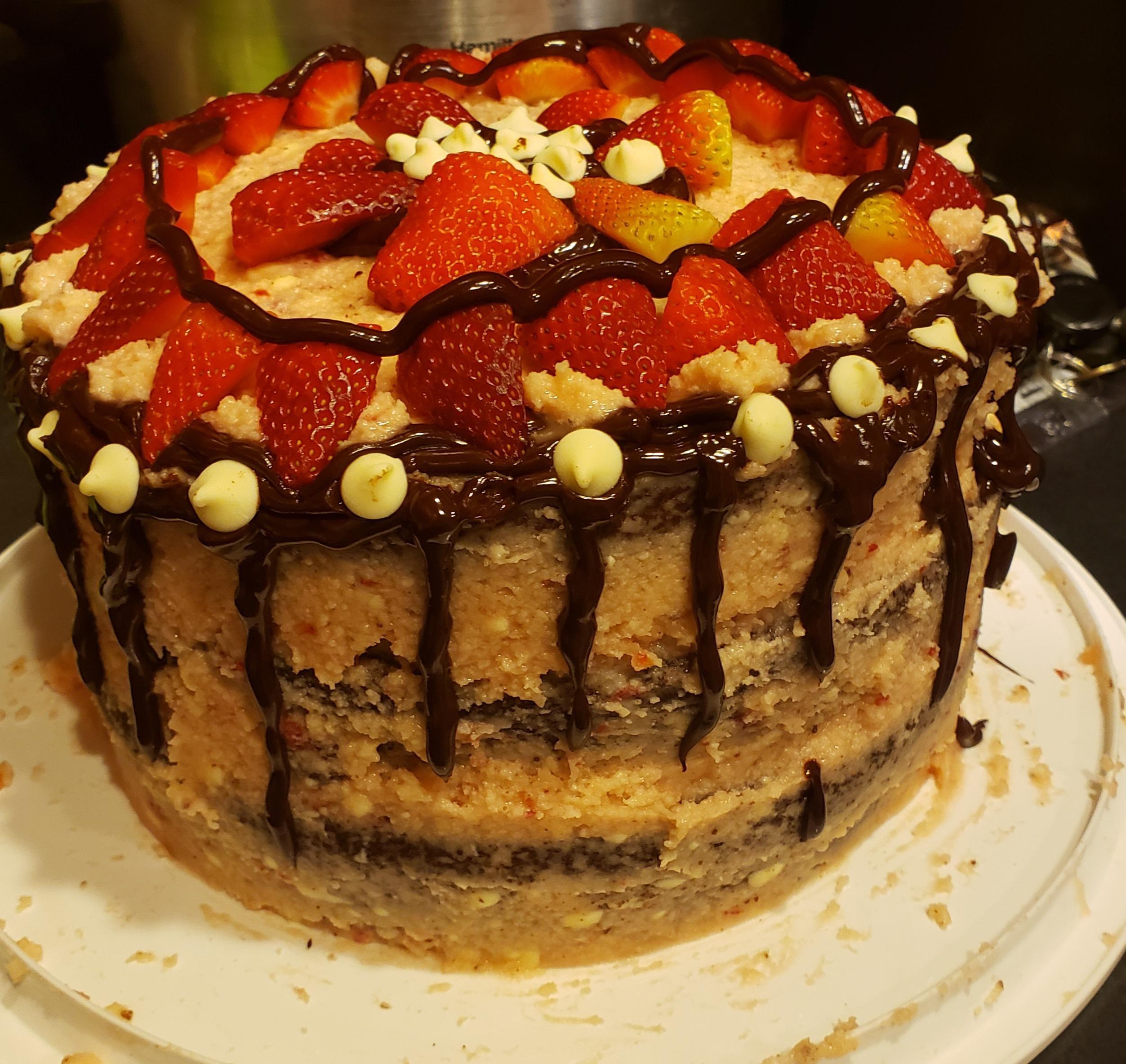 3 layered Kaluaha chocolate cake with strawberry buttercream