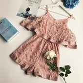 New Summer Women Fashion Beach Lace Organza Playsuits Female Casual Wide Pants S