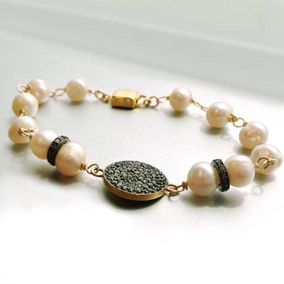 Pearl Bracelet Diamond Jewelry Oxidized by jewelrybycarmal on Etsy, $250.00