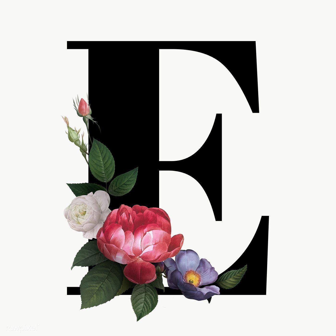 Classic and elegant floral alphabet font letter E