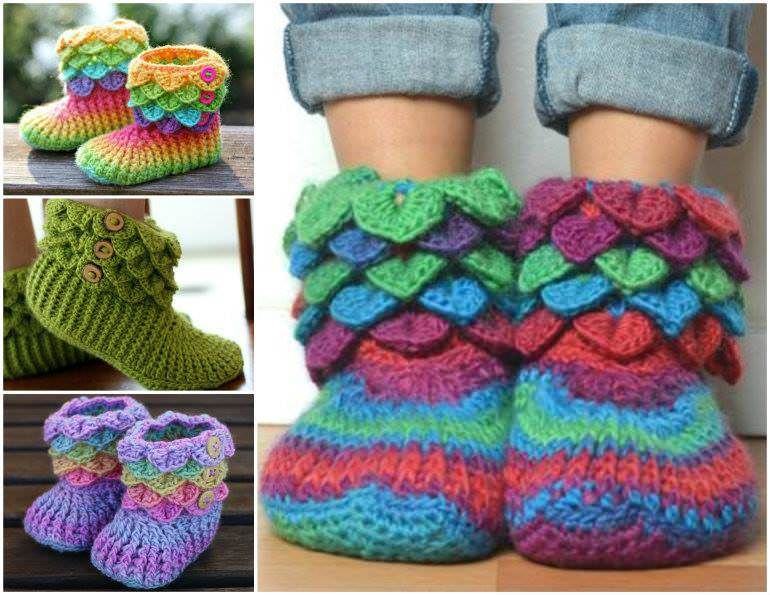 CROCHET PATTERN: Dragon Slippers Crocodile Stitch Boots (Adult Sizes ...