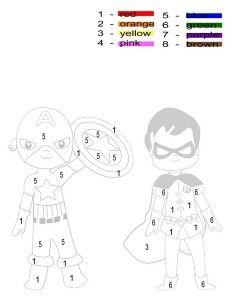 superheroes worksheets for kıds | Kleuren met nummers ...