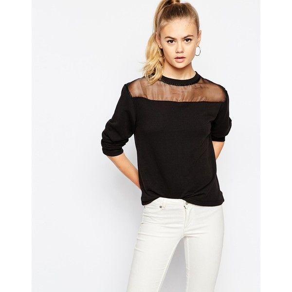 ada553595ad Daisy Street Sheer Mesh Insert Sweatshirt (€29) ❤ liked on Polyvore  featuring tops