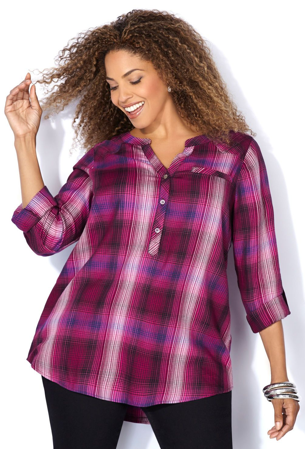 Berry Plaid Pullover Tunic Shirt-Plus Size Shirt-Avenue | My style ...