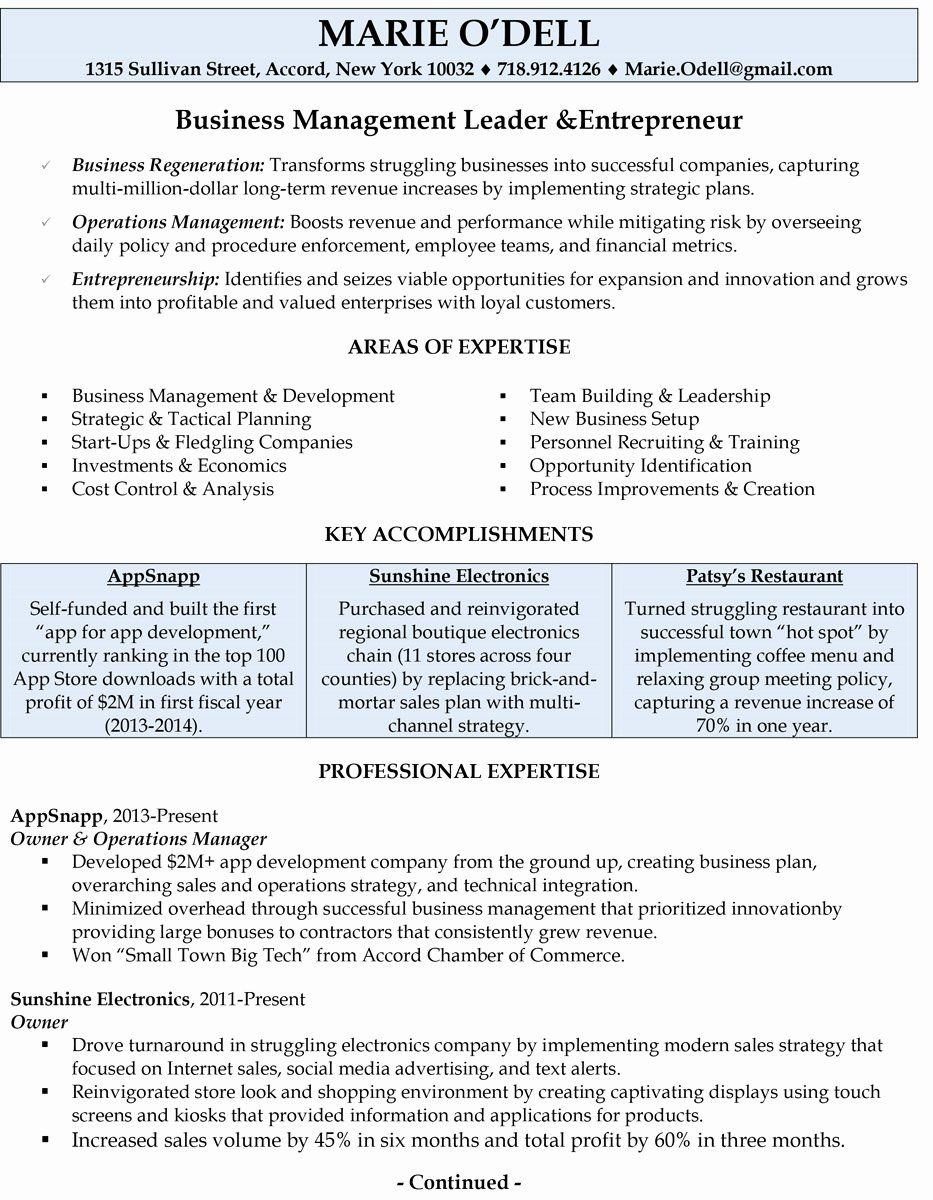 Small Business Owner Resume Sample New Professionally