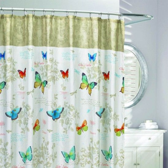 Butterfly Script Fabric Shower Curtain Fabric Shower Curtains