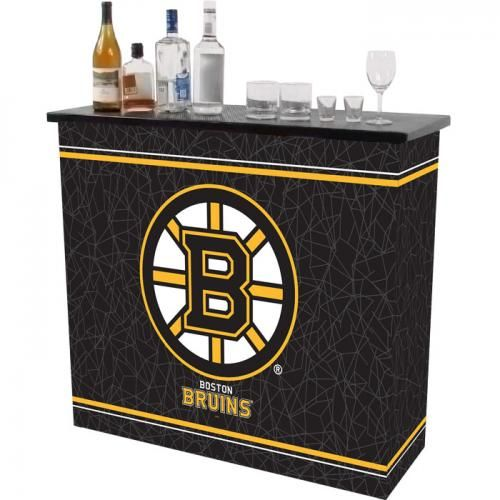 NHL Boston Bruins 2 Shelf Portable Bar w/ Case