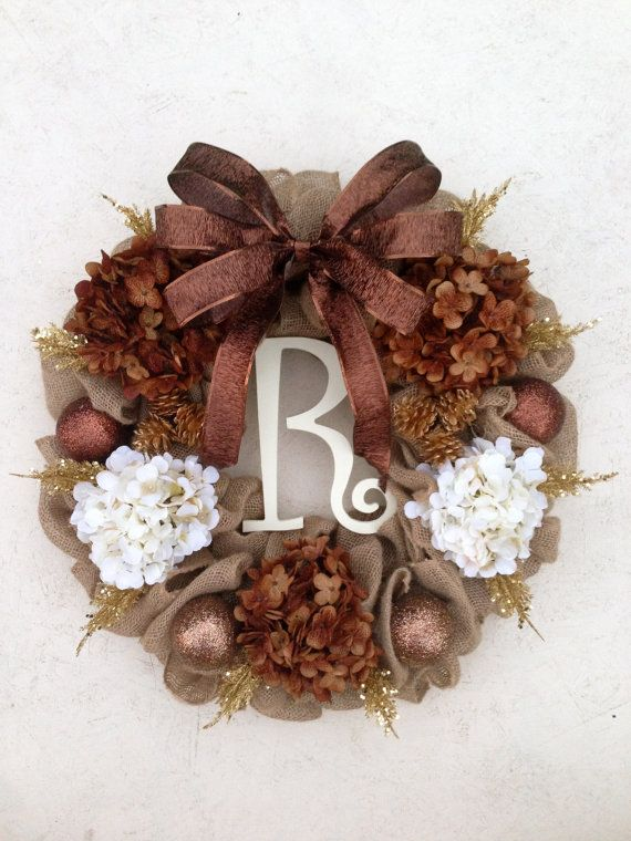 Brown and Gold burlap wreath, Bronze Christmas wreath, Cream and Brown wreath, Holiday door decor, Christmas monogram wreath, Door decor