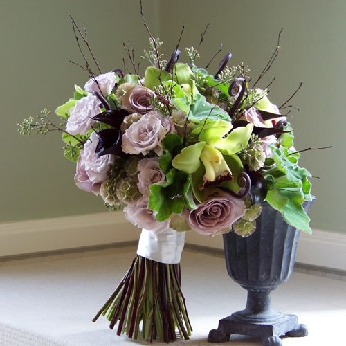 Roses, Calla Lilies, Monkey Tail, Hosta Leaves, Seeded